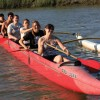 Young Hawaiian outrigger paddlers